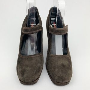 Prada Brown Square Toe Suede Wedges Size 37